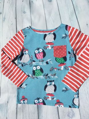 Mini Boden turquoise top with red and white striped long sleeves and owl design age 6-7